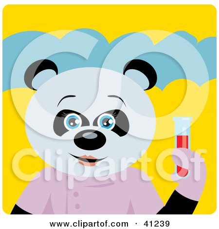 Clipart Illustration of a Giant Panda Scientist Bear Character by Dennis Holmes Designs