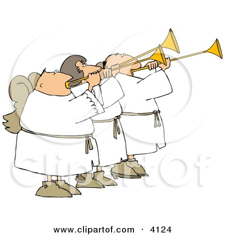 Three Angels Blowing Horns Clipart