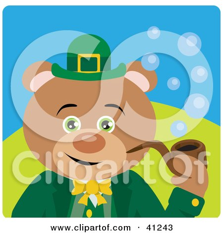 Clipart Illustration of a Bear Leprechaun Character Smoking A Pipe by Dennis Holmes Designs