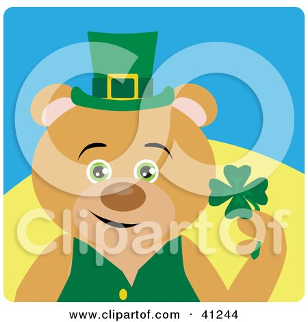 Clipart Illustration of a Brown Bear Leprechaun Character Holding A Clover by Dennis Holmes Designs