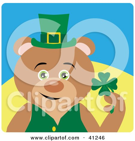 Clipart Illustration of a Leprechaun Bear Character Holding A Clover by Dennis Holmes Designs