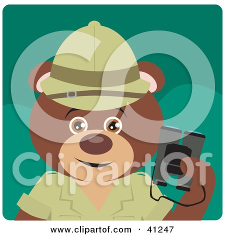 Clipart Illustration of a Brown Bear Explorer Character by Dennis Holmes Designs