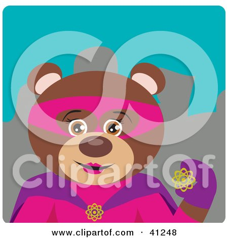 Clipart Illustration of a Female Brown Bear Super Hero Character by Dennis Holmes Designs