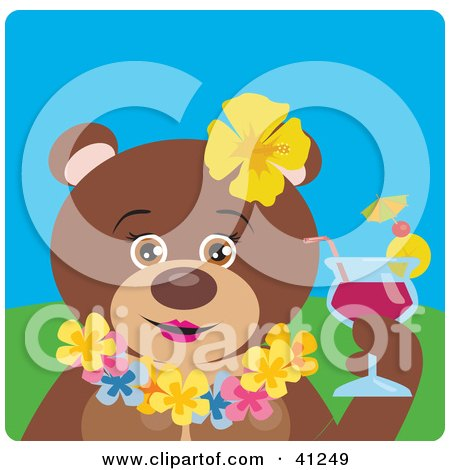 Clipart Illustration of a Female Hawaiian Tourist Brown Bear Character by Dennis Holmes Designs
