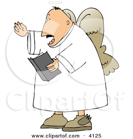 Male Angel Preaching From The Bible Clipart
