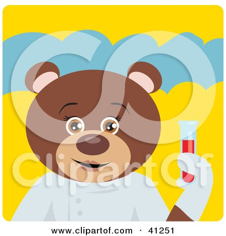 Clipart Illustration of a Brown Bear Scientist Character by Dennis Holmes Designs
