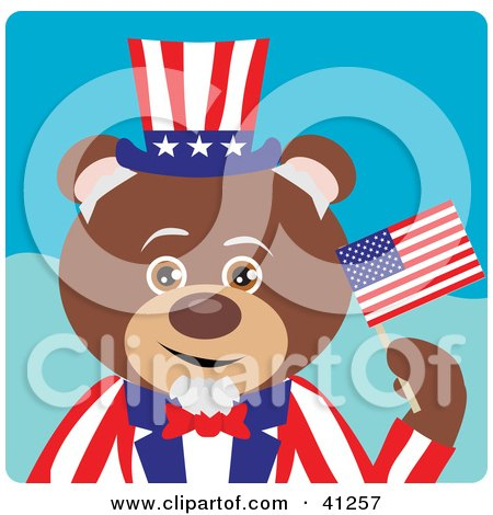 Clipart Illustration of a Brown Bear Uncle Sam Character by Dennis Holmes Designs