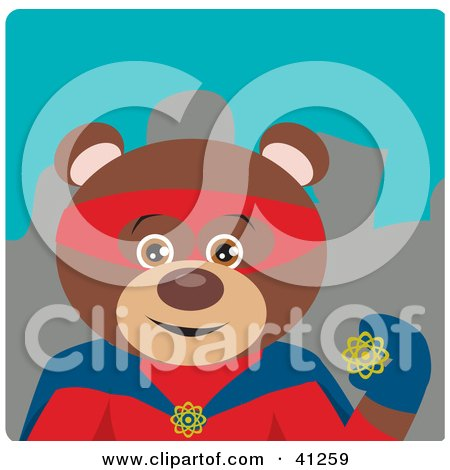 Clipart Illustration of a Brown Bear Hero Character by Dennis Holmes Designs