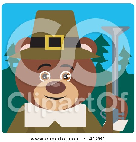 Clipart Illustration of a Brown Bear Hunting Pilgrim Character by Dennis Holmes Designs