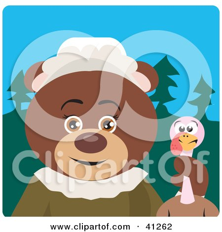 Clipart Illustration of a Brown Bear Pilgrim Character Holding A Turkey by Dennis Holmes Designs