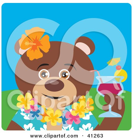 Clipart Illustration of a Brown Bear Hawaiian Tourist Character by Dennis Holmes Designs