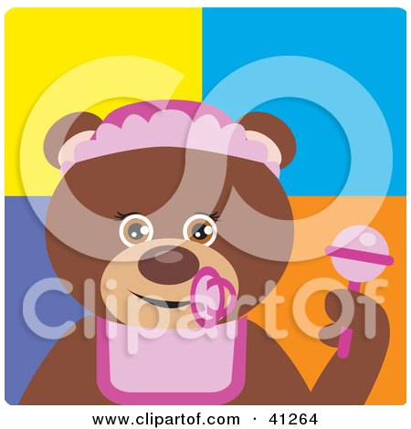 Clipart Illustration of a Brown Bear Baby Girl Character by Dennis Holmes Designs