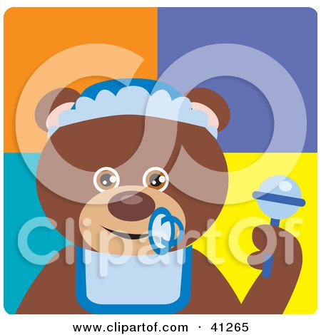 Clipart Illustration of a Brown Bear Baby Boy Character by Dennis Holmes Designs