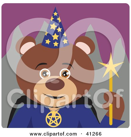 Clipart Illustration of a Brown Bear Wizard Character by Dennis Holmes Designs