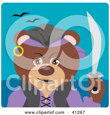 Clipart Illustration of a Brown Bear Female Pirate Character by Dennis Holmes Designs