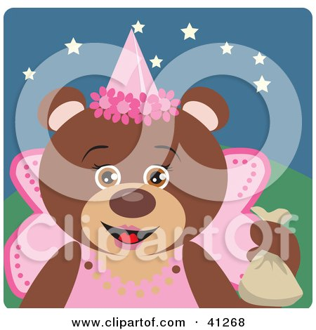 Clipart Illustration of a Brown Bear Fairy Princess Halloween Character by Dennis Holmes Designs