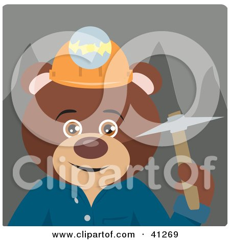 Clipart Illustration of a Brown Bear Miner Character by Dennis Holmes Designs