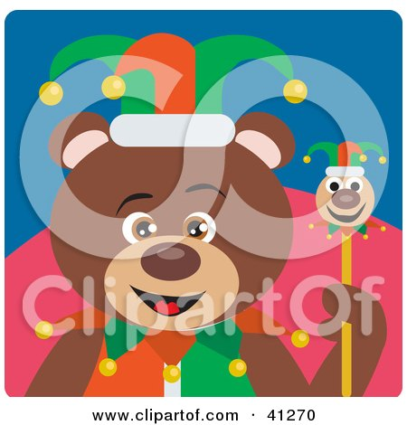 Clipart Illustration of a Brown Bear Jester Character by Dennis Holmes Designs