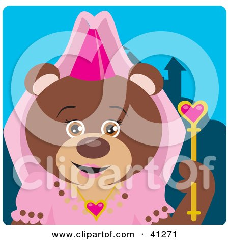 Clipart Illustration of a Brown Bear Princess Character by Dennis Holmes Designs