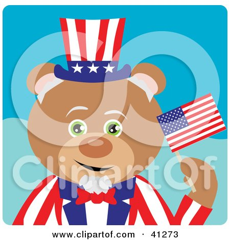 Clipart Illustration of a Teddy Bear Uncle Sam Character by Dennis Holmes Designs