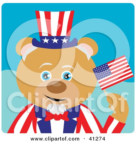 Clipart Illustration of a Bear Uncle Sam Character by Dennis Holmes Designs