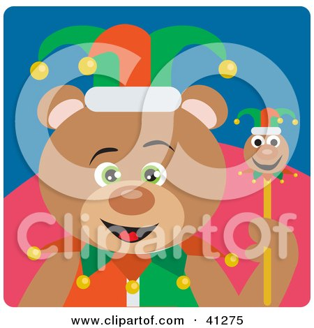 Clipart Illustration of a Teddy Bear Jester Character by Dennis Holmes Designs