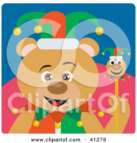 Clipart Illustration of a Bear Jester Character by Dennis Holmes Designs