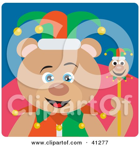Clipart Illustration of a Jester Teddy Bear Character by Dennis Holmes Designs