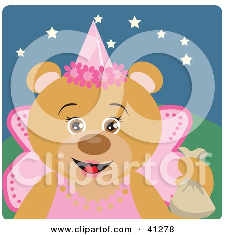 Clipart Illustration of a Teddy Bear Character In A Princess Halloween Costume by Dennis Holmes Designs