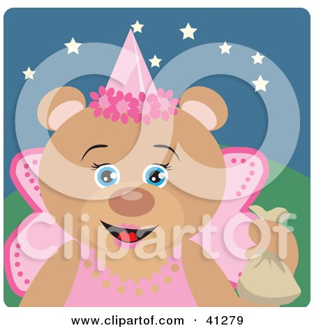 Clipart Illustration of a Bear Character In A Princess Halloween Costume by Dennis Holmes Designs