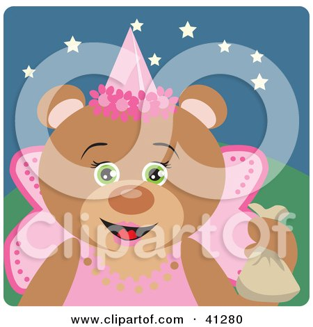 Clipart Illustration of a Teddy Bear Halloween Princess Character by Dennis Holmes Designs