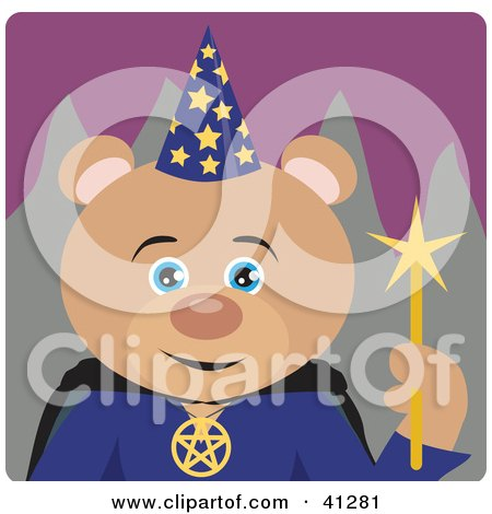 Clipart Illustration of a Teddy Bear Wizard Character by Dennis Holmes Designs