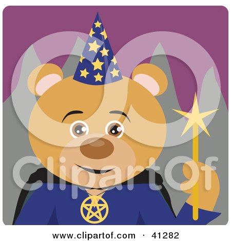 Clipart Illustration of a Bear Wizard Character by Dennis Holmes Designs