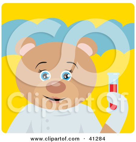 Clipart Illustration of a Teddy Bear Scientist Character by Dennis Holmes Designs