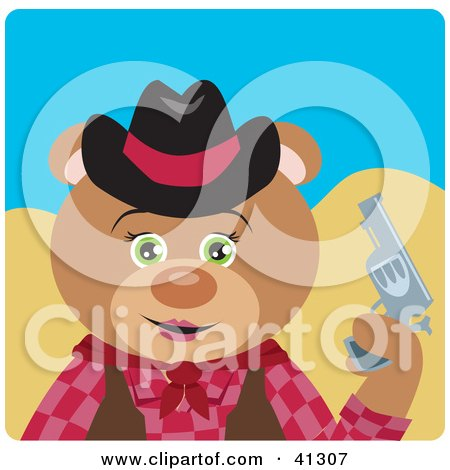 Clipart Illustration of a Cowgirl Teddy Bear Character by Dennis Holmes Designs