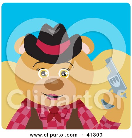 Clipart Illustration of a Bear Cowgirl Character by Dennis Holmes Designs