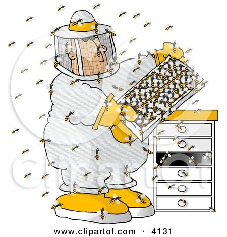 Male Beekeeper Checking a Honeybee Apiary (Bee Hives) Clipart by djart