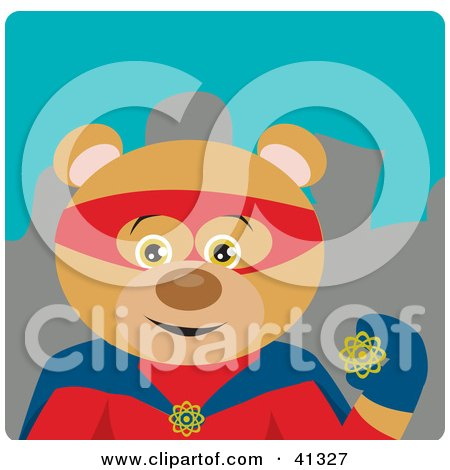 Clipart Illustration of a Hero Teddy Bear Character by Dennis Holmes Designs