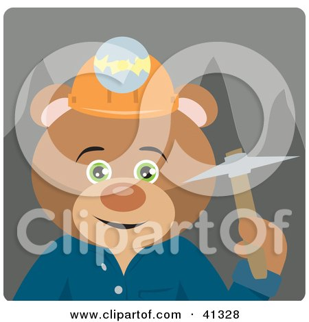 Clipart Illustration of a Teddy Bear Miner Character by Dennis Holmes Designs
