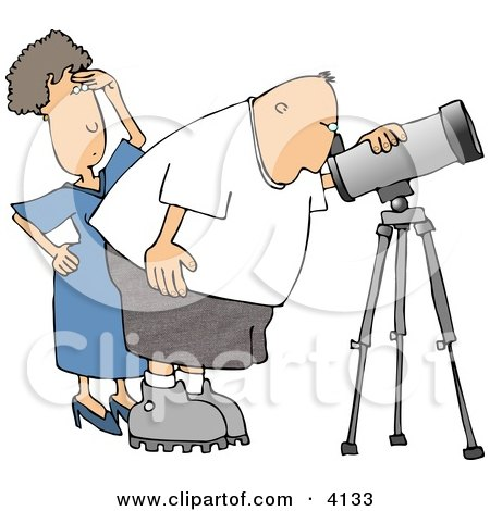 Woman Standing Beside Her Husband, the Astronomer, Looking Through a Telescope Clipart by djart