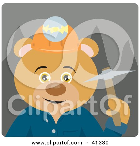 Clipart Illustration of a Mining Teddy Bear Character by Dennis Holmes Designs