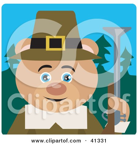 Clipart Illustration of a Teddy Bear Hunting Pilgrim Character by Dennis Holmes Designs