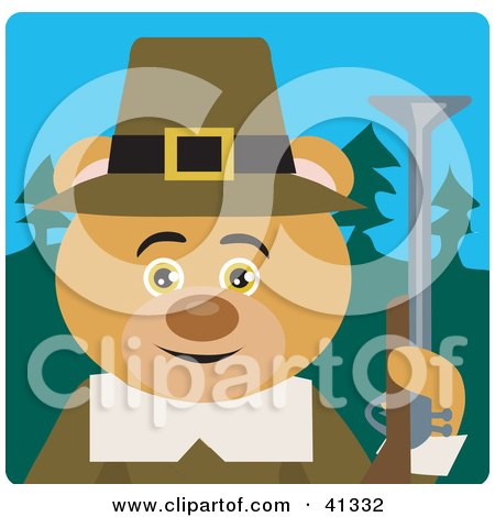 Clipart Illustration of a Bear Hunting Pilgrim Character by Dennis Holmes Designs