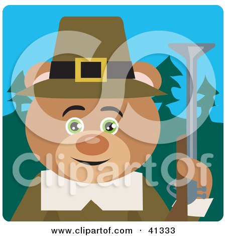 Clipart Illustration of a Hunting Pilgrim Bear Character by Dennis Holmes Designs