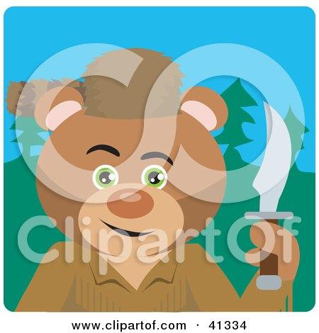 Clipart Illustration of a Teddy Bear Davey Crockett Character by Dennis Holmes Designs
