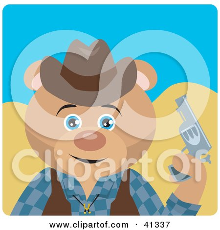Clipart Illustration of a Teddy Bear Cowboy Character by Dennis Holmes Designs