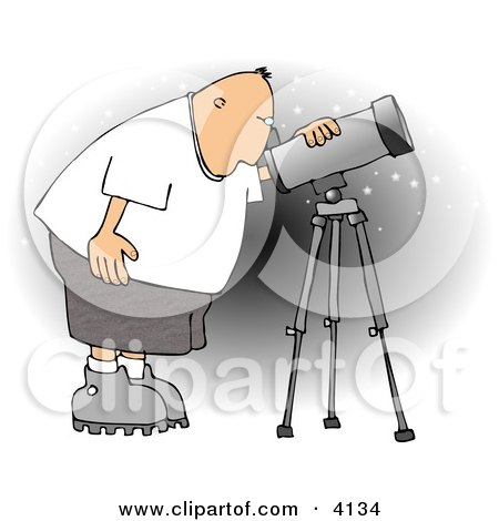 Male Astronomer Looking at the Sky Through a Telescope Clipart by djart