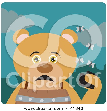 Clipart Illustration of a Teddy Bear Character Holding A Wallet And Being Surrounded By A Swarm Of Moths by Dennis Holmes Designs