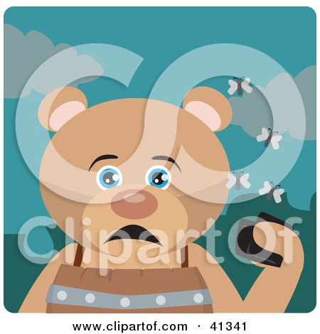 Clipart Illustration of a Bear Character Holding A Wallet And Being Surrounded By A Swarm Of Moths by Dennis Holmes Designs