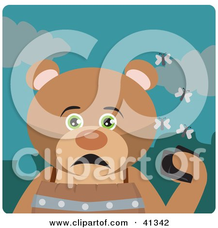Clipart Illustration of a Hungry Bear Character Holding A Wallet And Being Surrounded By A Swarm Of Moths by Dennis Holmes Designs
